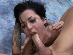 Tattoed Up Brunette Whore Crying With Gagging On Dudes Dick