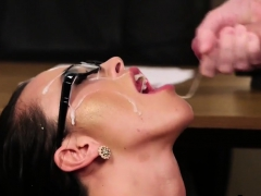 Peculiar beauty gets jizz load on her face swallowing55HkW