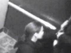 british slut swallows bf's jizz in elevator cctv footage PornBookPro