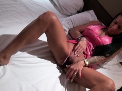 german brunette milf with tattoos seduced and sperm in mouth