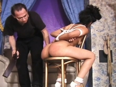 Merciless slavery time for curvy babe with admirable rack