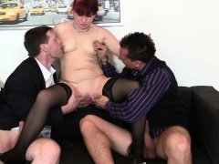 redhead office milf gets her old pussy licked and banged
