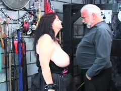 hot scenes of coarse bondage on breasty babe's fur pie