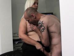 chubby blonde secretary blowjob and penis fucking