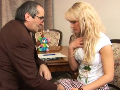 horny elderly teacher is pounding chick's crack tenaciously