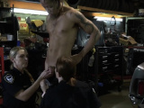 Mechanic is subdued by perverted milf cops into hot sex