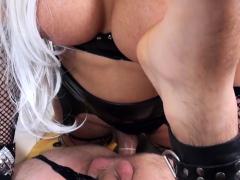 Blond Tranny Leticia Fucks Her Slave