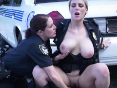 Female cop starts sucking on the parking