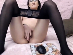 Teen in Glasses and Nylons