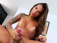 Unusual TS Luana releases her bigtits and goes masturbation