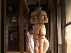 Swingeing sayoko bounces on fat jock