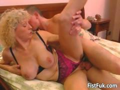 Busty Blond Mature Gets Her Pussy Fisted Part1