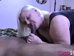 Pussy Toying British Granny Rides Black Cock