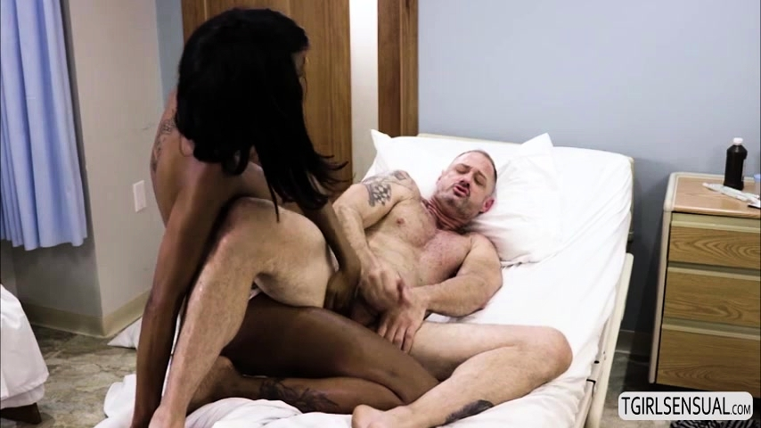 Gorgeous tgirl Natassia Dreams gets interracial anal sex