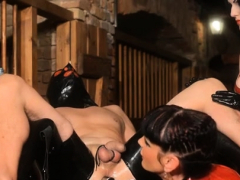 Wicked domme ties up her serf and gives him a tugjob