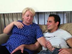 Big tits blonde old grandma rides stranger's cock