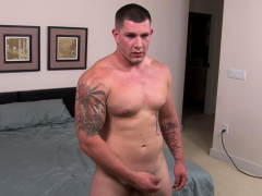 Horny solo military guy jacking off his cock