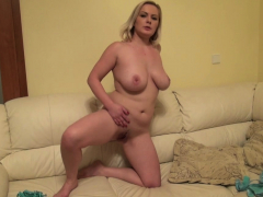 Busty amateur plays around with her snatch