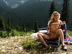 Big Butt Blonde Milf Model Anna Katarina Outdoor Striptease