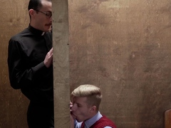 Priest lets twink touch his hard cock during confession