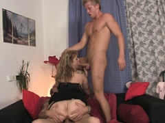 Sexy old lady loves sucking and riding at same time