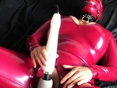 Latex fetish masturbation with dildo in torture basement