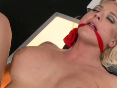 Huge tits blonde anal foot fucked