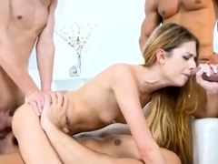 Attractive Blonde Babe Gets Gangbanged And Covered In Cum