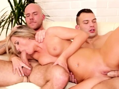 Gay couple having fun with blonde sexy babe