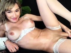 Blonde busty shemale nikolly solo masturbation vid