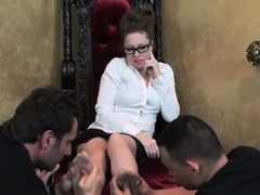 Beautiful playgirl gets her boots licked by tractable sub