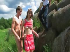 Bewitching Double Fuck Outside With Teen