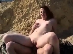 nude beach – gorgeous redhead puts on a show for us