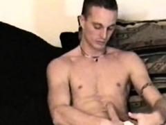 Straight jock jerked off by dicksucking daddy