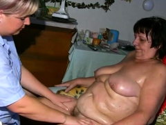Chubby nurse oiling fat granny and makes her cum