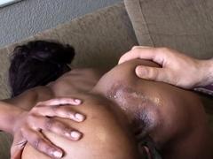 Huge dick brutally fucks petite ebony slut