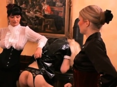 Naughty domina ties up slave's balls and whips a-hole bloody