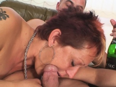 Two dudes fuck her shaved pussy grandmother