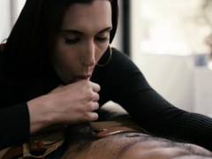 Horny shemale throats and ass rammed by her black boyfriend