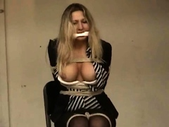 An awesome blond woman with big boobs part1