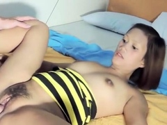Playful nipponese minx gets filled up to an edge