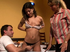 European couple fucking in threesome with a mature woman