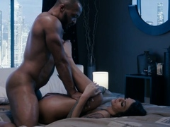 Horny shemale lets her black husband bang her wet ass