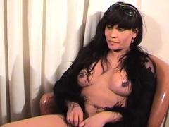 Ebony tranny Brii jerks her black boner in solo masturbation